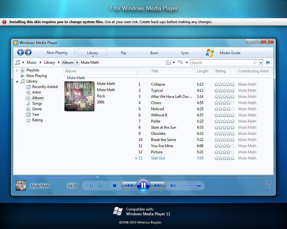 7 for Windows Media Player 11 by bogo-d