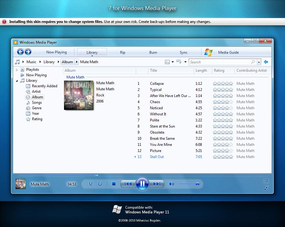 7 for Windows Media Player 11 by bogo-d