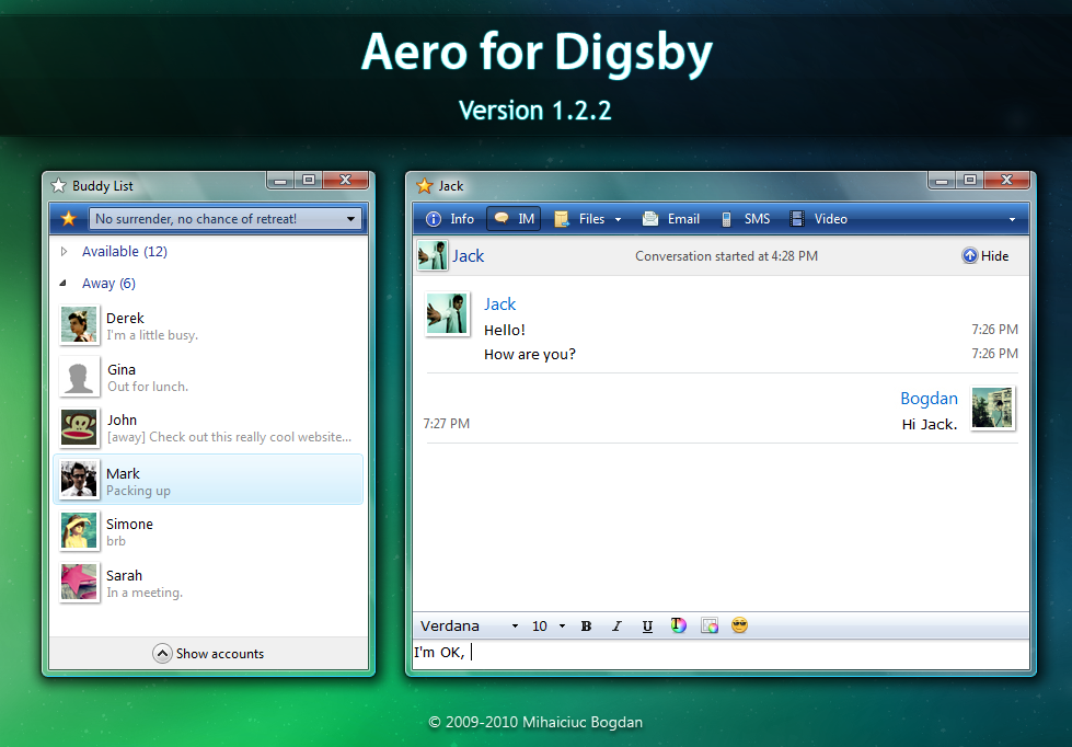Aero for Digsby version 1.2.2