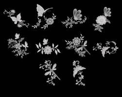 Patchwork Butterflies Set 3 by crungureanu