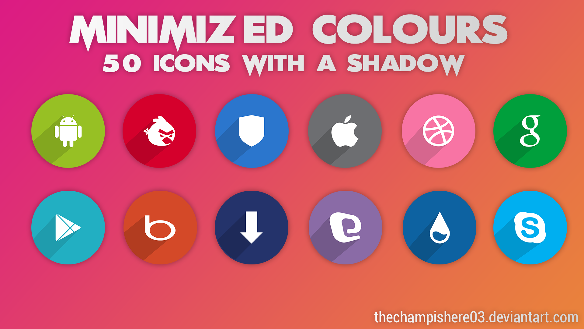 Minimized Colours Icon Pack::50 Icons by thechampishere03