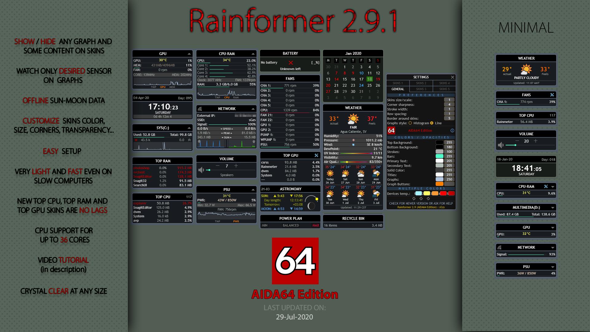 Rainformer 2.9.1 AIDA64 Edition | Rainmeter