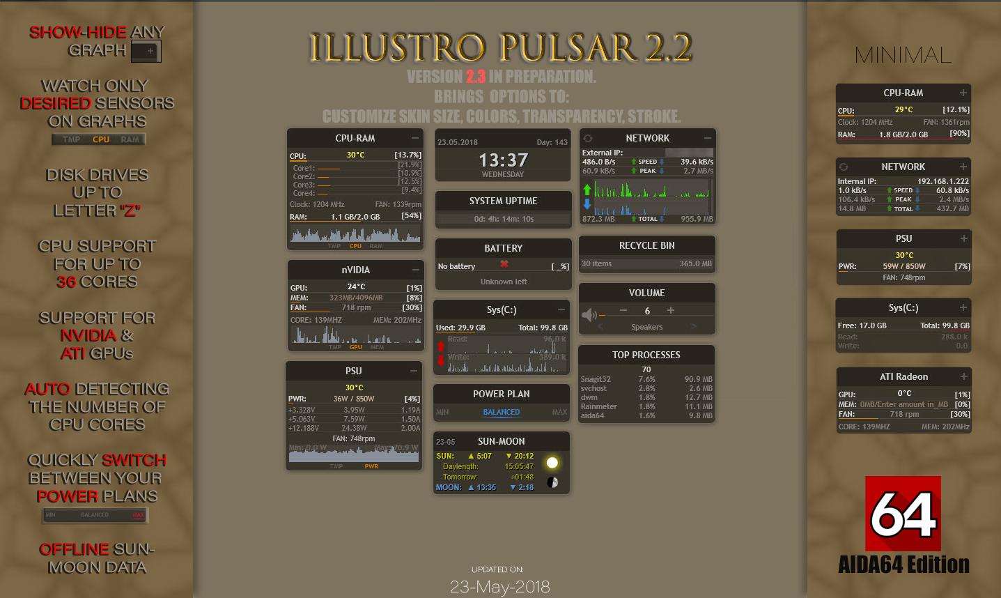 illustro Pulsar 2.2 AIDA64 Rainmeter by Pul53dr1v3r