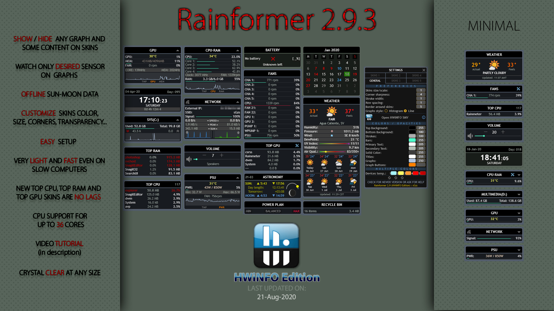Rainformer 2.9.3 HWiNFO Edition : Rainmeter