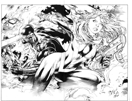 Inks on Ed Benes Pin-Up