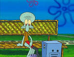 Squidward Playing With A Reef Blower