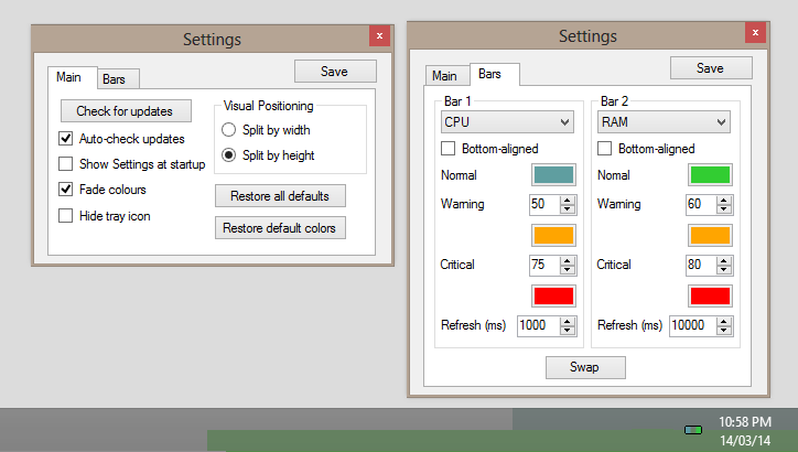 RAM CPU (+DISK) Taskbar v2.2.2 by anonymous-thing