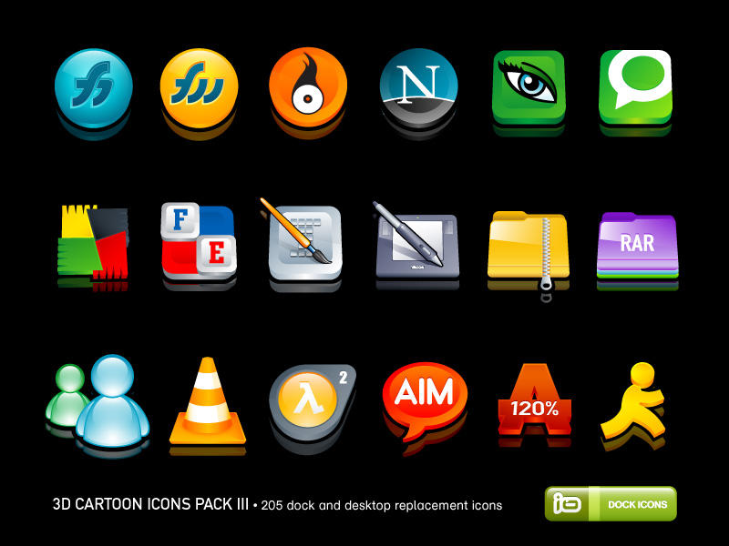 3D Cartoon Icons Pack III by deleket