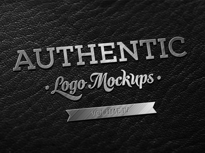 Freebie - Dark Leather Metallic Finish Logo Mockup