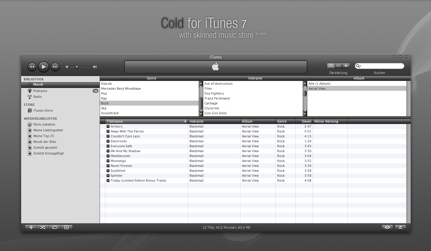 Cold skin for iTunes 7 by MrToNeR