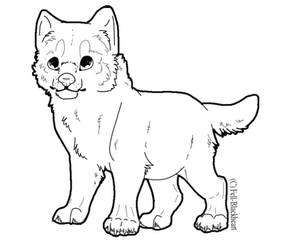 Free PSD Wolf Pup Lineart by Fells-Adopts