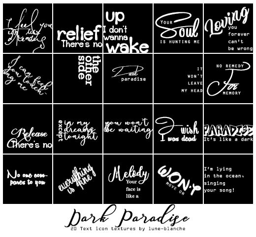 Dark paradise - text icon textures #02