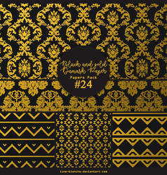 Papers pack #24 - Black and gold Damask Paper