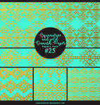 Papers pack #25 - Aquamarine and gold Damask Paper