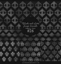 Papers pack #26 - Black and silver grunge damask