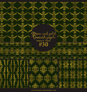 Papers pack #30 - Green and gold damask paper