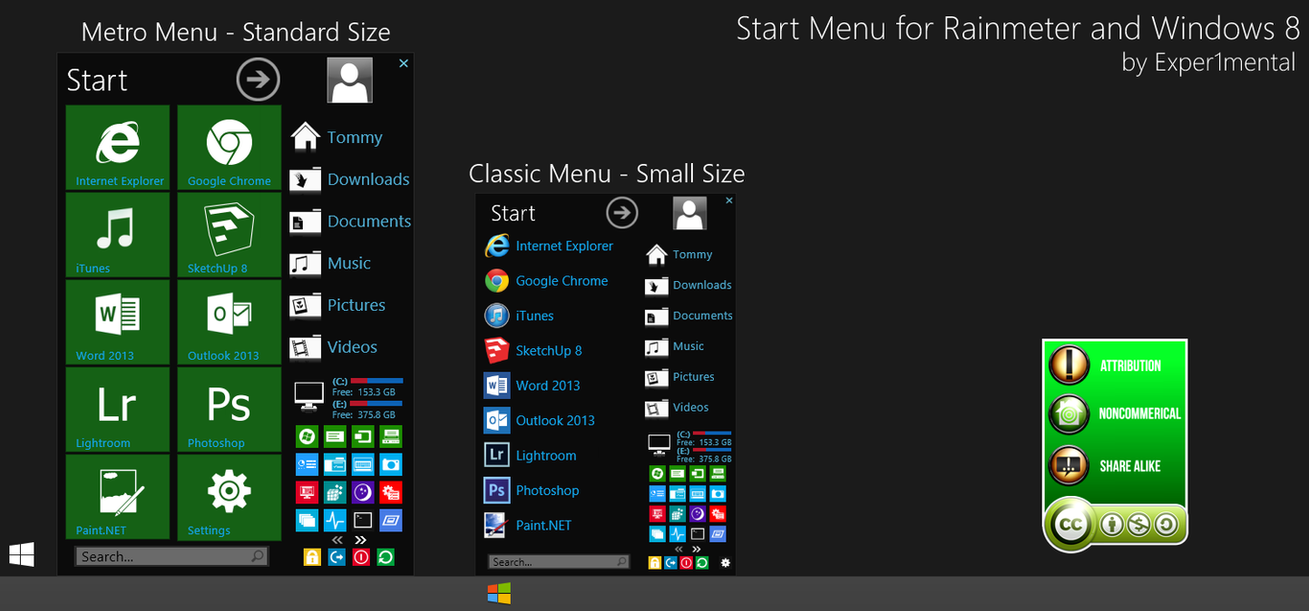 Start menu for rainmeter v1 5 7 by exper1mental on deviantart for Bureau windows 7 rainmeter