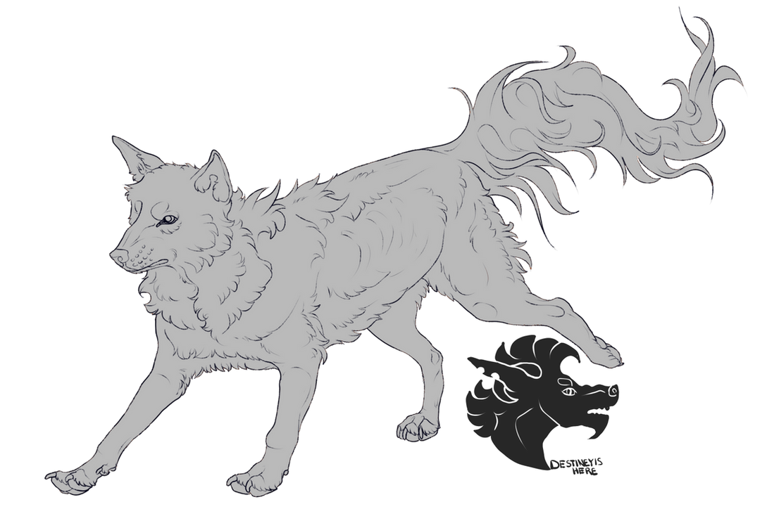 Wolf Lineart : Wolf lineart f u by destineyishere on deviantart