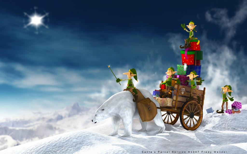 Santa's Parcel Service, High Quality Christmas Wallpapers