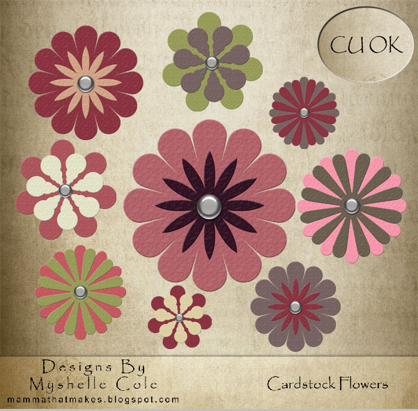 Cardstock Flowers pack 2 cuok by shelldevil