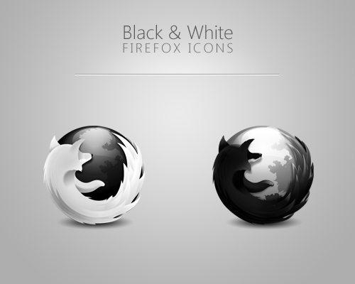 Black and White Firefox Icons
