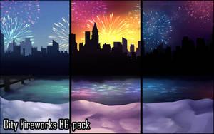 Background set - City Fireworks by momma-kuku