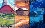 Background set - Farm by momma-kuku