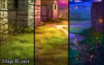 Background set - Village by momma-kuku