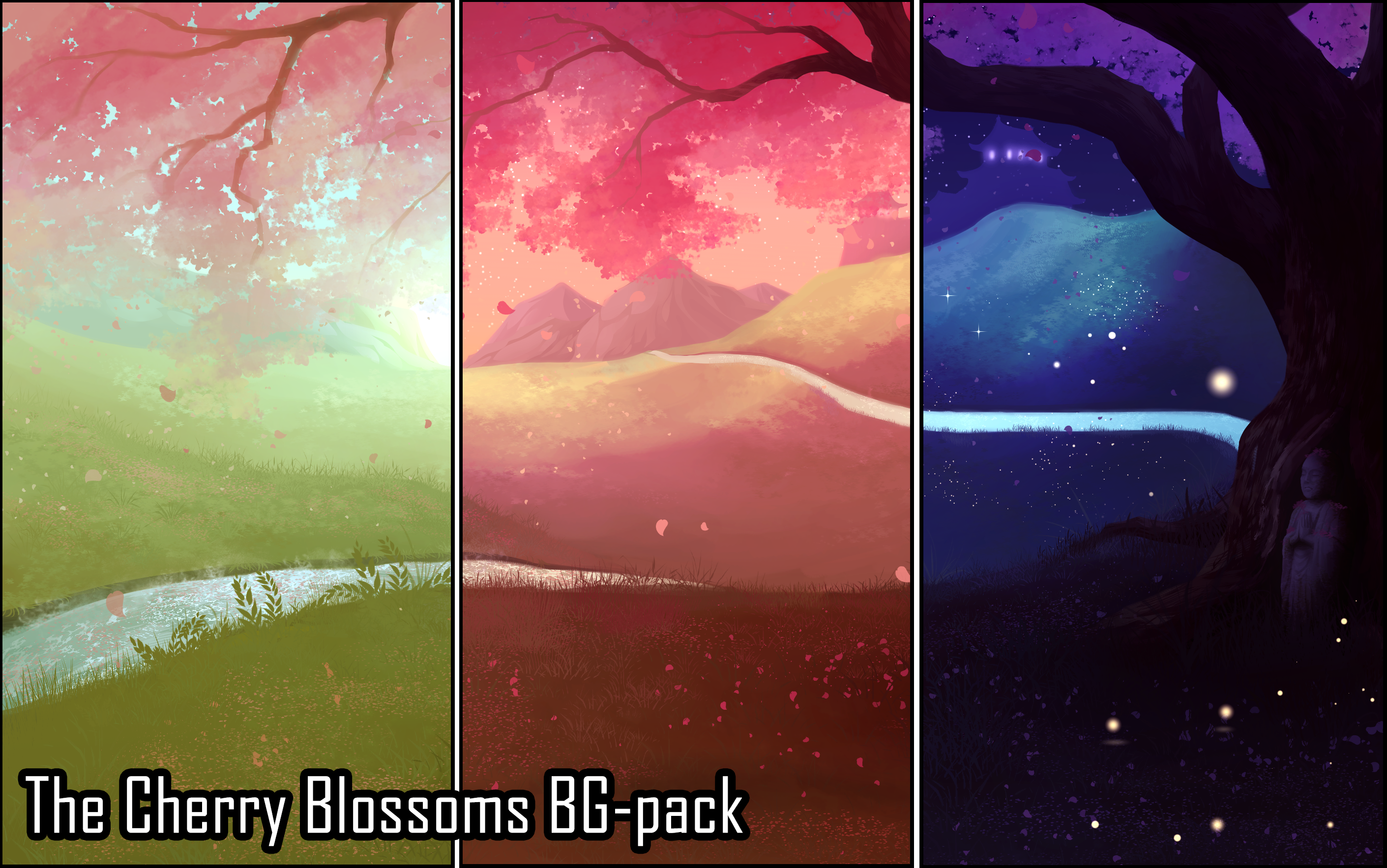 Background Set - The Cherry Blossoms by momma-kuku