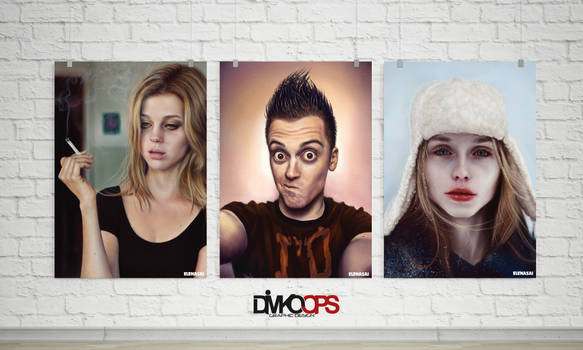 3 Realistic Poster gallery mockup