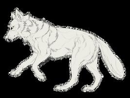 Galloping Wolf Free Lineart by Akaiia