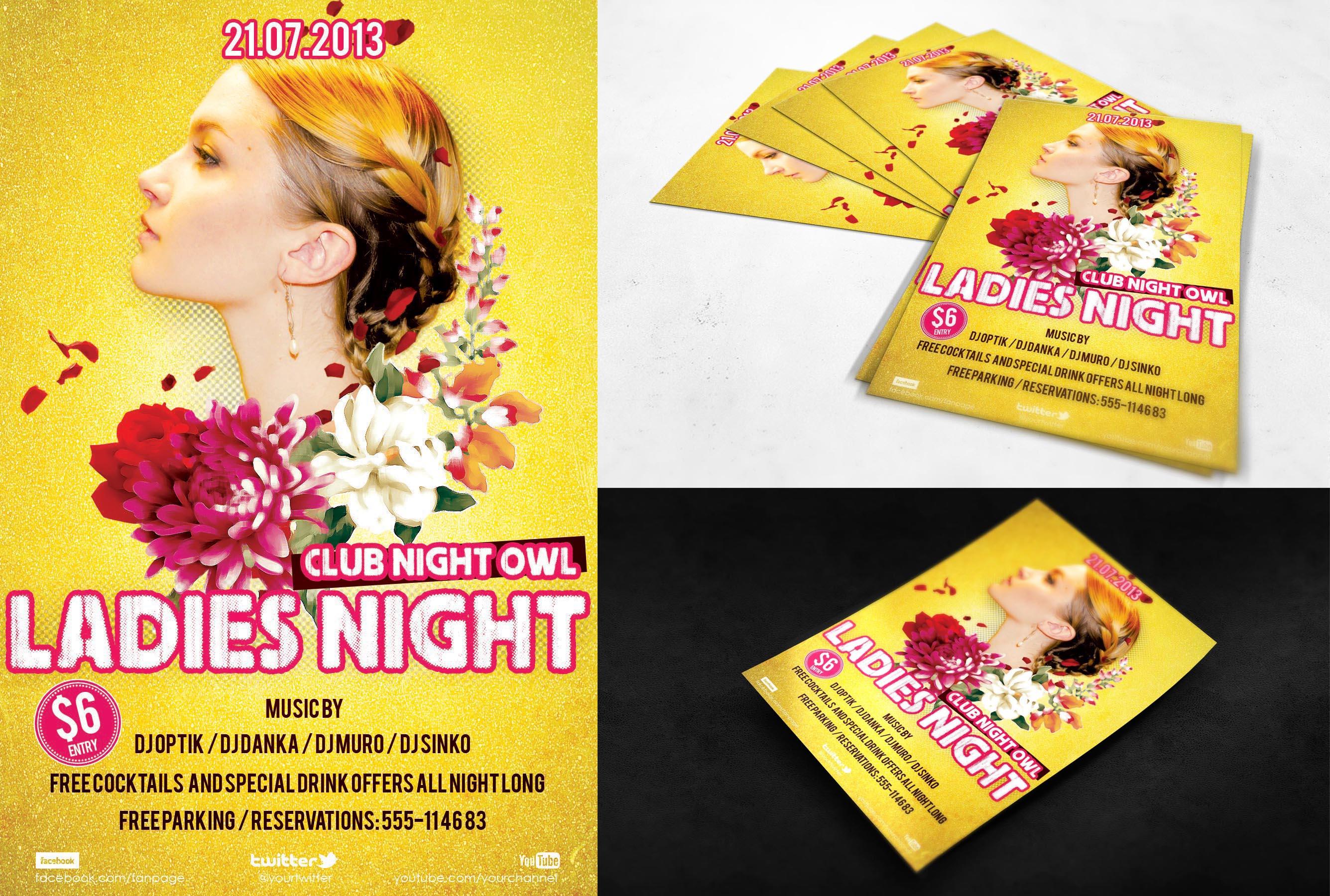 FREE PSD FLYER - Ladies Night