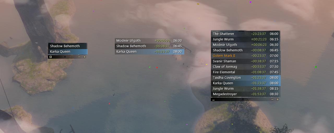Guild Wars 2 World Boss Timer Overlay