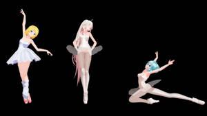 MMD Model Pack: TDA Ballerina IA, Miku, and Rin