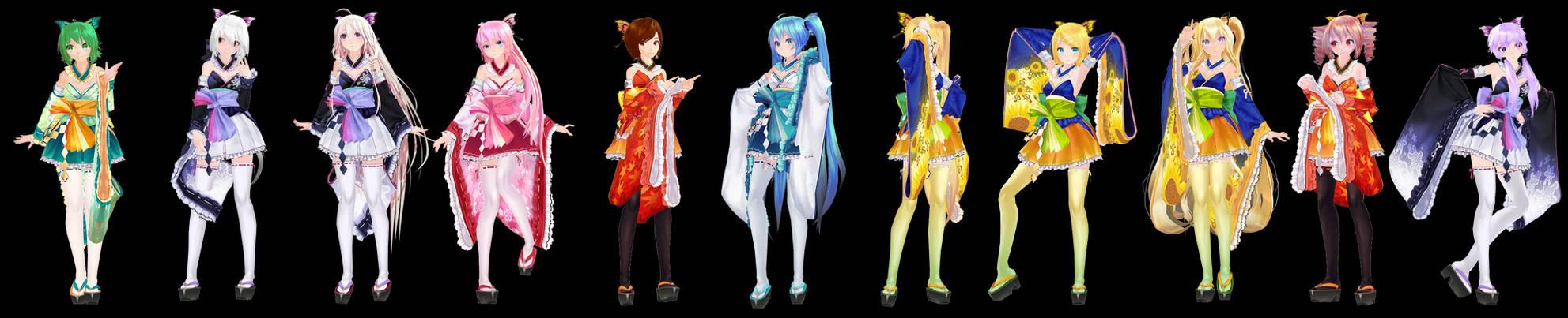 MMD Model Pack: TDA Kimono Girls