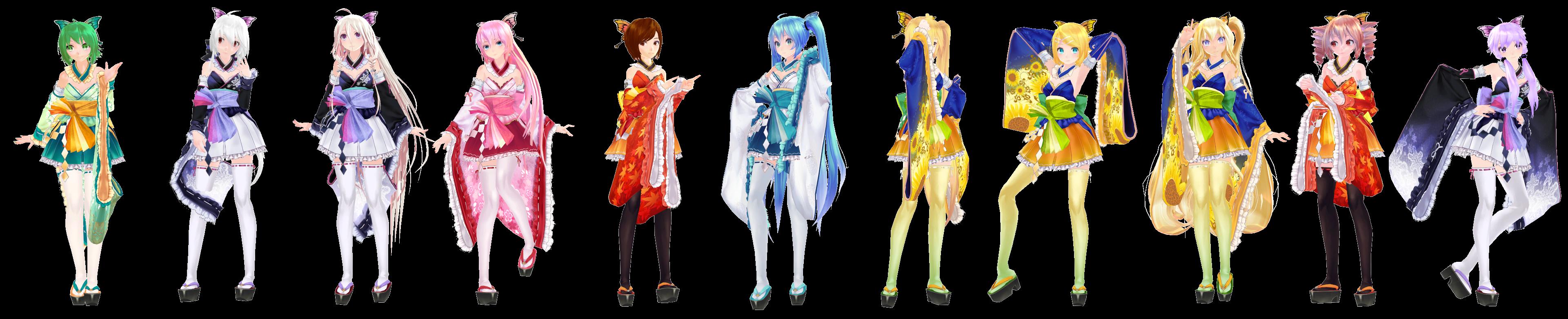 MMD Model Pack: TDA Kimono Girls by K-Manoc1