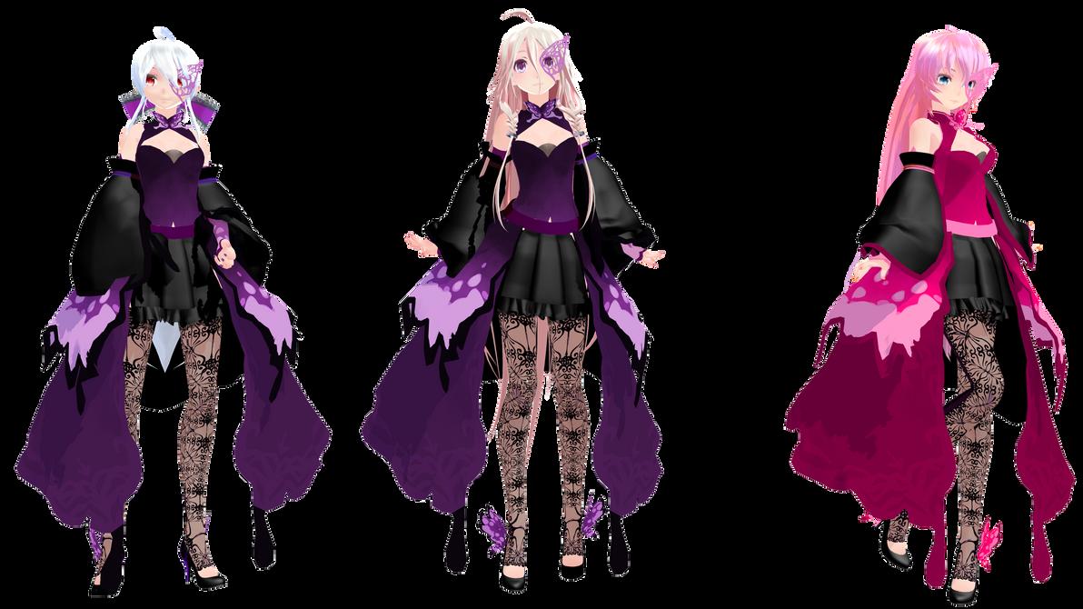MMD: TDA Butterfly Dress Haku, IA, and Luka by K-Manoc1