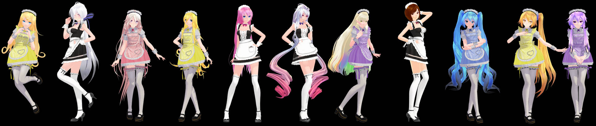 MMD Model Pack: TDA Maid Models