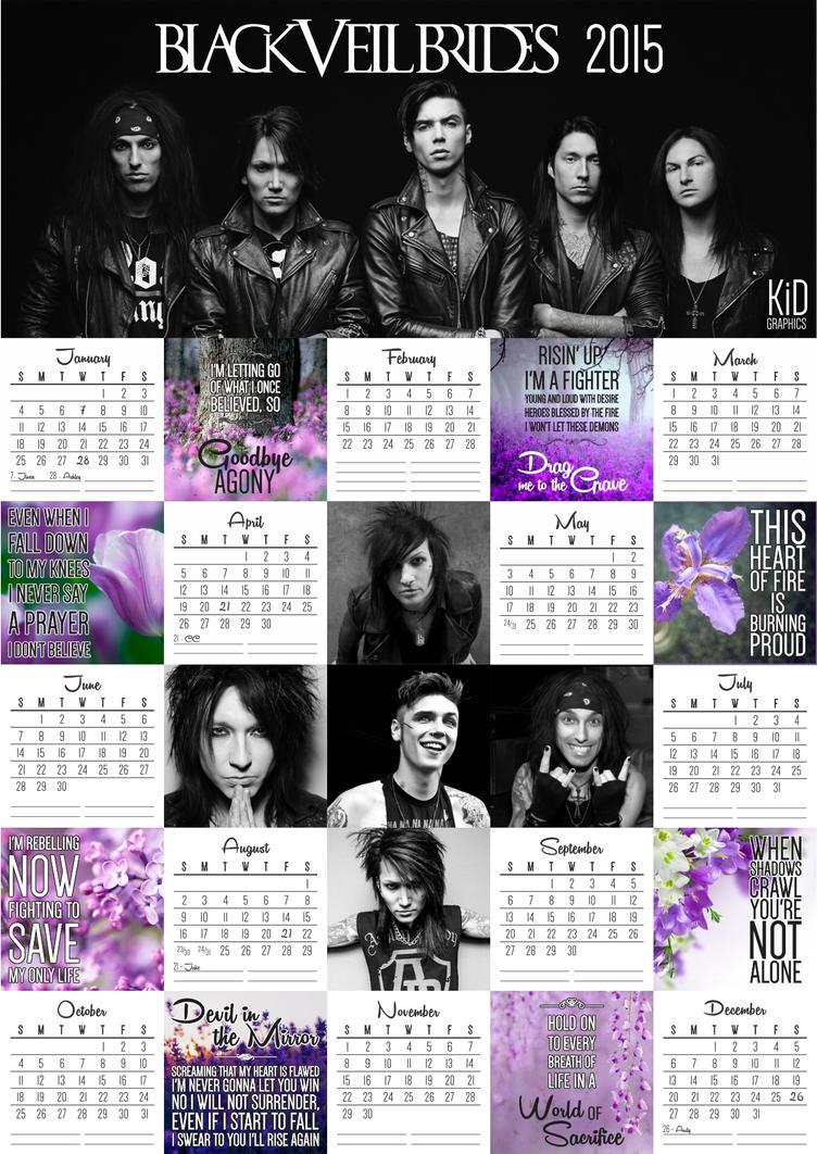 Black Veil Brides Calendar 2015 by Khima-Inez