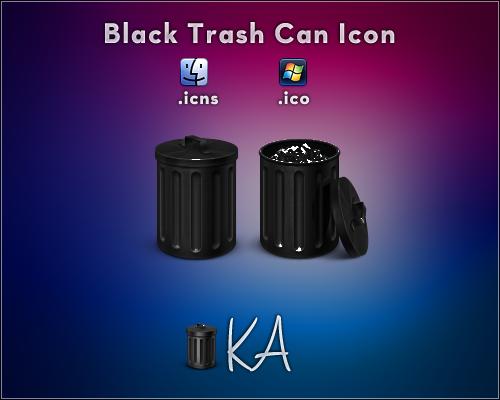 Black Trash Can Icon