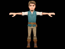 Flynn Rider (Tangled) 3D model texturing process