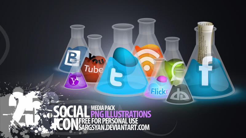 Bulb Social Media Icons by sargsyan