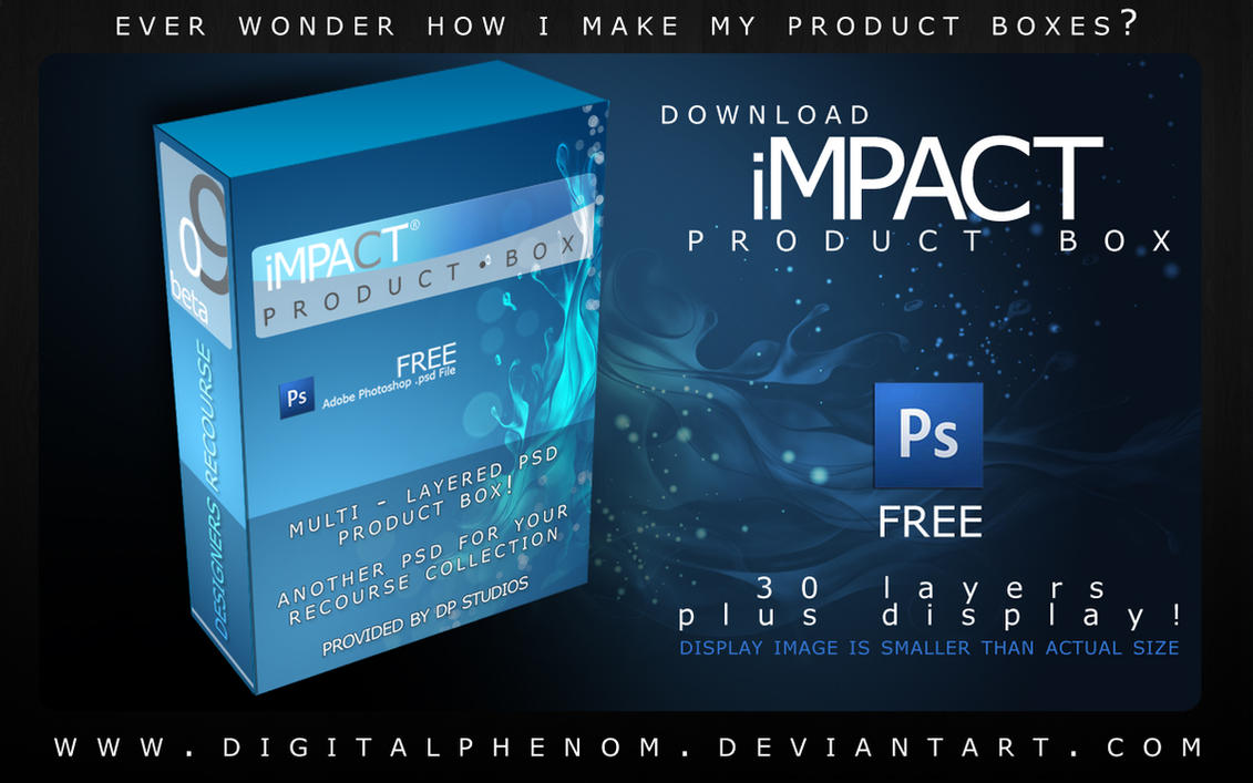 Product box design template as full layered PSD file