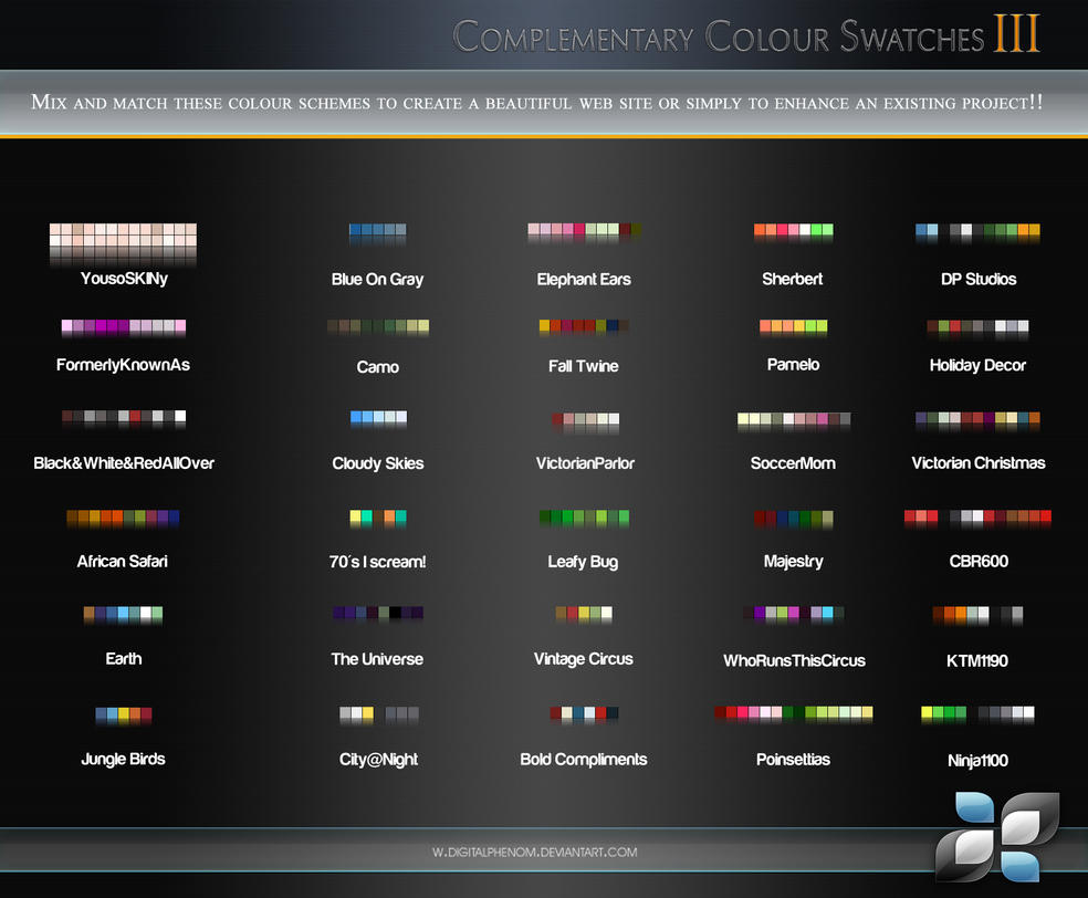 Complimentary Color Swatches 3 by DigitalPhenom