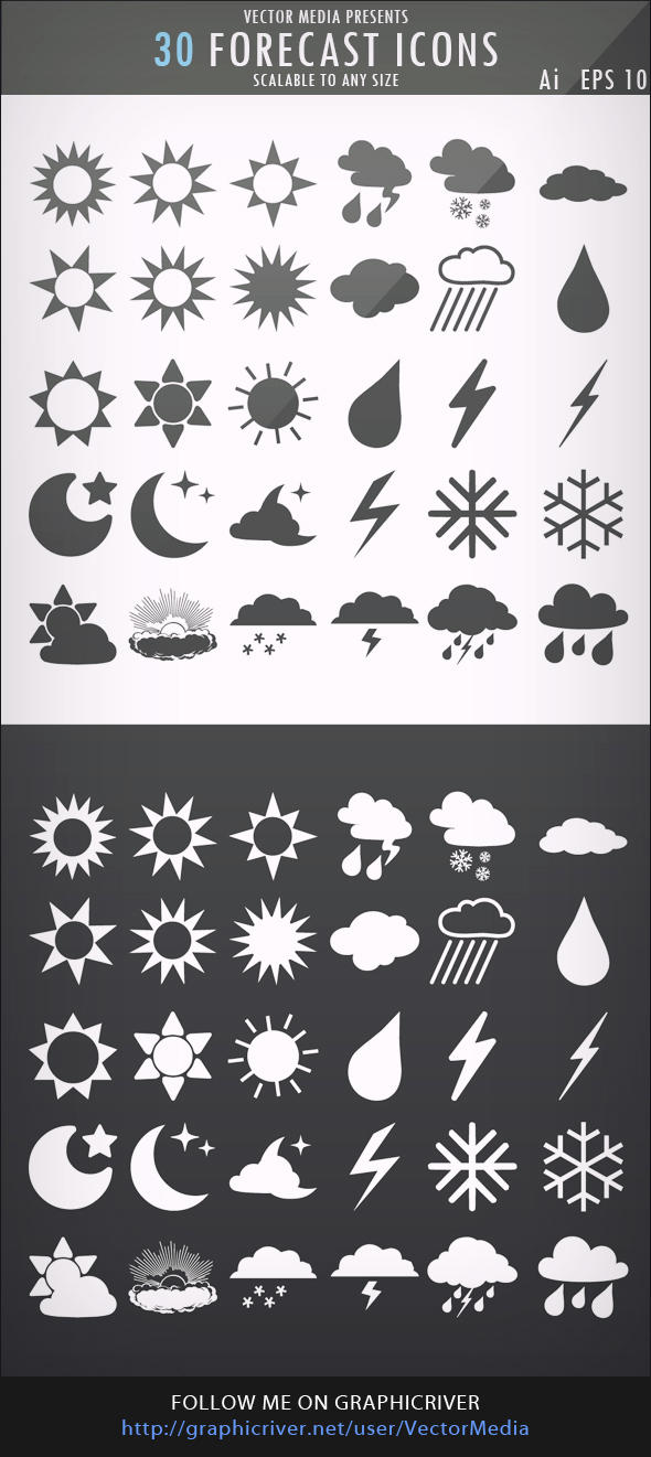 30 Forecast Icons by VectorMediaGR