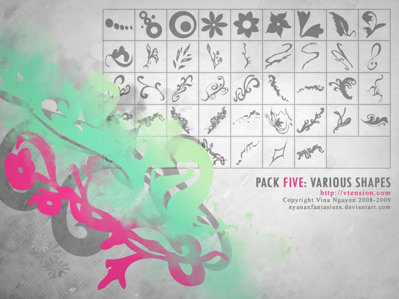 Pack 5: Various Shape Brushes by xyunaxfantasiesx