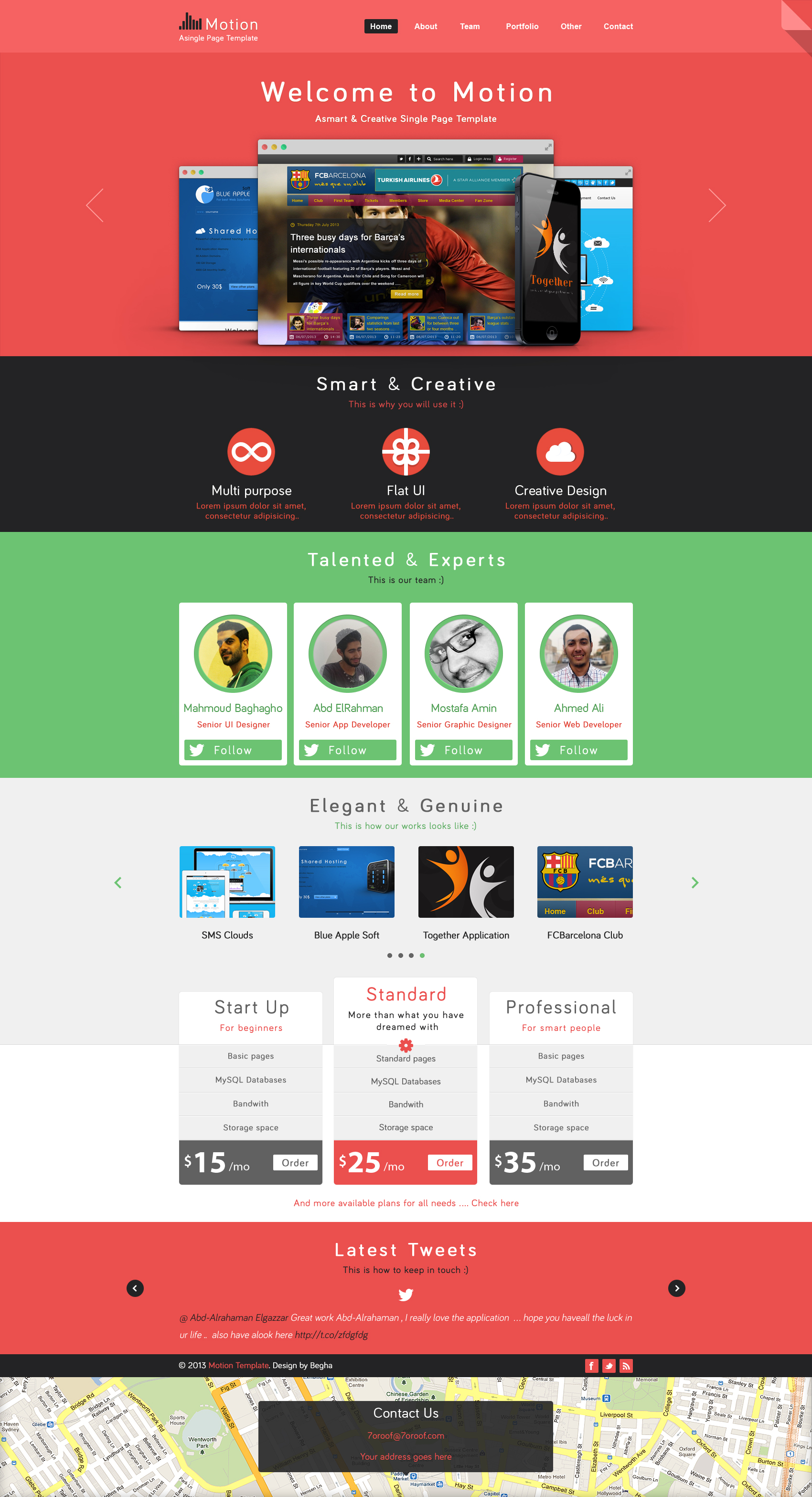 Motion single page PSD web template for free