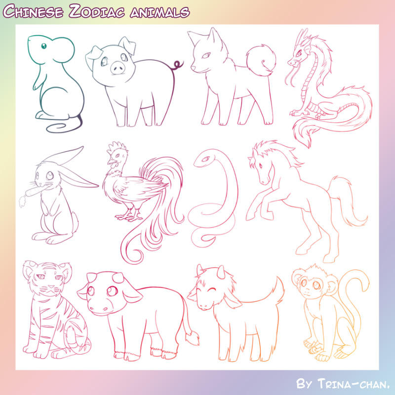 Chinese Zodiac Animal Brushes by Trinamon