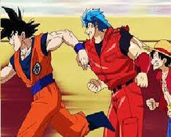 Goku, Toriko and Luffy running gif