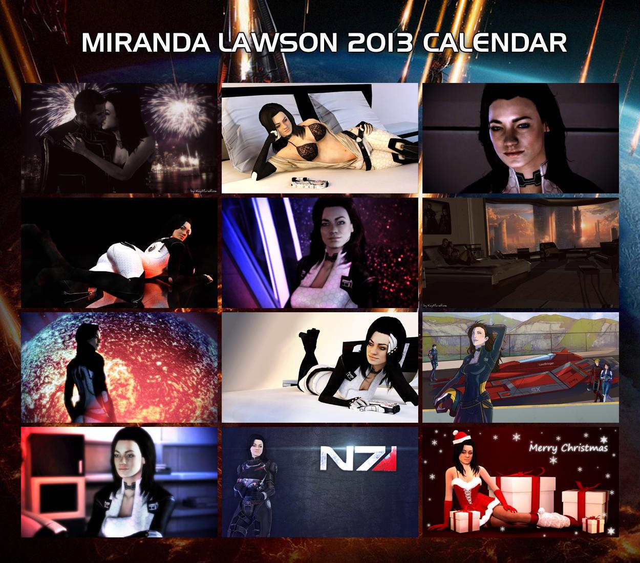 Miranda Lawson 2013 Wall Calendar by Skllhrt